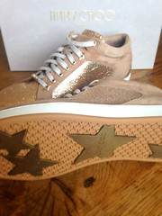 "Jimmy Choo ""Miami"" Sneakers (DolceDanielle) Tags: glitter gold women shoes miami jimmy sneakers choo choos"