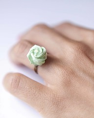 Origami Rose Ring (all things paper) Tags: origami mint ring paperflower paperrose rosering paperjewellery paperjewelry origamiring