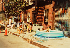 Street pool (eatmymoto) Tags: life street city summer urban usa newyork hot pool brooklyn america children fun big cool manhattan streetlife 1999 fresh graffity swimmingpool independenceday refreshing openair newyorklife surviving newyorkstyle summer1999 urbix