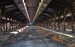 Abandoned Railway Platform light lines & shadows