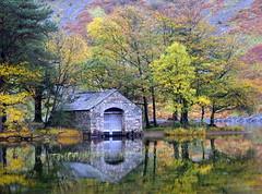 Boathouse Reflection (mikedenton19) Tags: park autumn lake reflection water stone nationalpark colours district national slate boathouse wastwater lak wasdale