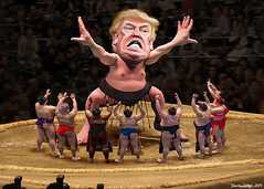 Yokozuna Trump Towers Over His Challengers (DonkeyHotey) Tags: art face illustration photomanipulation photoshop photo wrestling political politics cartoon manipulation caricature politician sumo thedonald donaldtrump sr karikatur rnc caricatura apprentice commentary politicalart makuuchi karikatuur politicalcommentary donaldjohntrump donkeyhotey