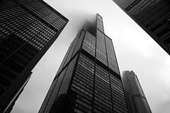 Untitled (pantagrapher) Tags: winter bw chicago tower architecture skyscraper nikon downtown gbrearview loop sears willis chicagoist d600