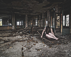 A pain that has no sound (sadandbeautiful (Sarah)) Tags: me woman female self selfportrait abandoned urbex hospital nj