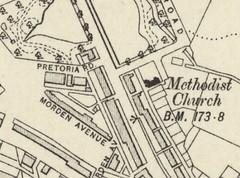 1909 OS Map Sheet 101 NE (part): Queens Rd Methodist Church, Ashton in Makerfield (The Makerfield Rambler) Tags: makerfield methodist