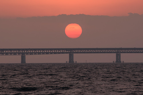 関空・夕景9・Sunset over Kanku Airport Bridge