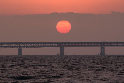 関空・夕景9・Sunset over Kanku Airport Bridge