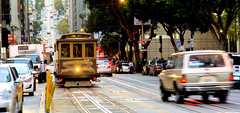 Cable car in the traffic (valeriorosati) Tags: america antique authentic bay bus cable california car city famous francisco green hill historic landmark operating passenger people public rail retro san sf states street streetcar style tourist track traffic train tram transit transport transportation travel trolley urban usa vacation vintage west western wooden