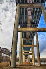 Bridges Across the Hudson River (hbickel) Tags: newyorkstatethruwaybridge thruway bridges bridge clouds blueskys canont6i canon photoaday pad piers columns highdynamicrange hdr