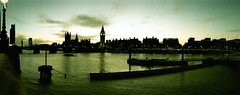 Thames (Myahcat) Tags: 35mm film xpro crossprocess dusk thames london winter panoramic horizonperfekt lomo analogue