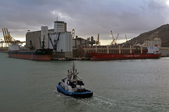 Montbrio with 2 ships 2 (PhillMono) Tags: nikon dslr d7100 ship boat vessel voyage harbour dock moored barcelona spain montbrio tug sophia bulker lauritzen great mind freighter cargo