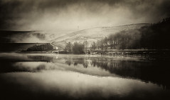 A Winters Day in the Valley (Missy Jussy) Tags: piethorne piethornevalley rochdale lancashire england northwest denshaw landscape trees reservoir reflections water winter snow fog moodylandscape atmosphere sepia mono monochrome canon canon50mm 50mm canon5dmarkll