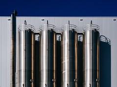 Quartet (toletoletole (www.levold.de/photosphere)) Tags: xt2 cologne fuji porz köln fabrik metall metal rohre factory pipes blue blau reflections spiegelungen abstract abstrakt