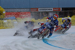 start turn trouble (murtica27) Tags: eisspeedway drausen grand prix extreme action outdoor winter motors motorsport bahnsport dirttrack track ice racing stefan svensson dmitri khomitsevich dinar valeev danil ivanov sweden russia russland schweden germany deutschland motorrad bike motocycle eis