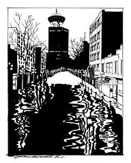 Gastown (PiscesDreamer) Tags: winter harbourcentre gastown inkdrawing art artwork waterstreet canada illustration ink vancouver britishcolumbia sketch rain puddles