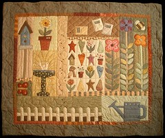 garden quilt (PatchworkPottery) Tags: quilt country fabric quilting quilts patchwork applique artquilt