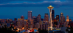 space needle at night (wildpianist) Tags: seattle city sky urban panorama tower colors skyline clouds canon 100v eos 50mm washington 14 panoramic 10d pacificnorthwest spaceneedle pugetsound kerrypark ef seattlecenter downtownseattle interestingness371 i500 christarnawski explore5jun06