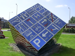 """The Magic Roundabout"", Cardiff (Richard and Gill) Tags: sculpture sign wales roundabout cardiff streetsigns roadsigns welsh magicroundabout trafficsigns vivant pierrevivant deadstreetsigns"