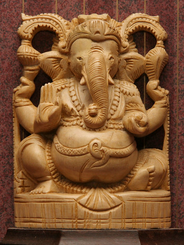 Wood carving of God Ganesh from Kerala, India -- india wood ganesh god kerala éléphant hindu carving elephant inde exfordy hehe