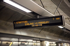 Travel Info (Bruno Girin) Tags: uk greatbritain england game london station underground football display unitedkingdom jubilee board tube line waterloo paraguay score information