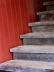 Stairs  -  Red Barn  -  Swiss Heritage Village (beccafromportland) Tags: wood red stairs barn climb steps redbarn berneindiana swissheritagevillage greatswissbarn