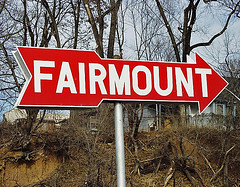 Fairmount (FotoEdge) Tags: arrow red fairmount erosion fence hill quirky overgrown hometown kansascity trees smalltowns signs roadside road remember old nostalgia missouri midwesttowns historic forgotten