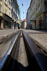 (@mjb) Tags: street travel vacation austria bed europe raw publictransit publictransportation tram rail backpacking publictransport graz easterneurope styria tramrail railbed