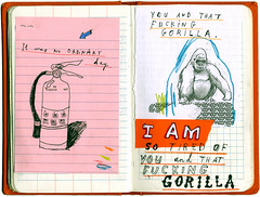 Gratuitous Simian Profanity (David Fullarton) Tags: fire book sketch gorilla drawing journal ape extinguisher obscenity