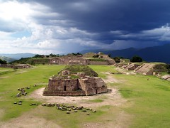 Monte Albn (paradigmcubed) Tags: travel storm industry beauty rain clouds america mexico ancient ruins pyramid central mexican american ruinas latin empire oaxaca land pyramids latino monte awe alban antiquity guerreros zapotec