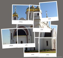 Hockneyized photo of Russian orthodox church