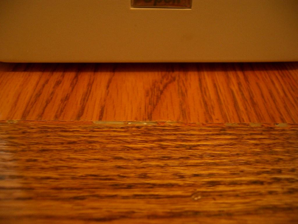 The edge between floor and nosing.