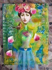 Fornasetti 7X9 Canvas Monet Inspired (HollyLovesArt) Tags: flowers bird collage mixed media canvas monet ribbon fornasetti