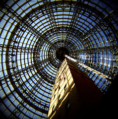 concentricity (thescatteredimage) Tags: blue film topf25 topv111 holga topv555 topv333 iso400 circles australia melbourne victoria melbournecentral shottower 5hits fujipro
