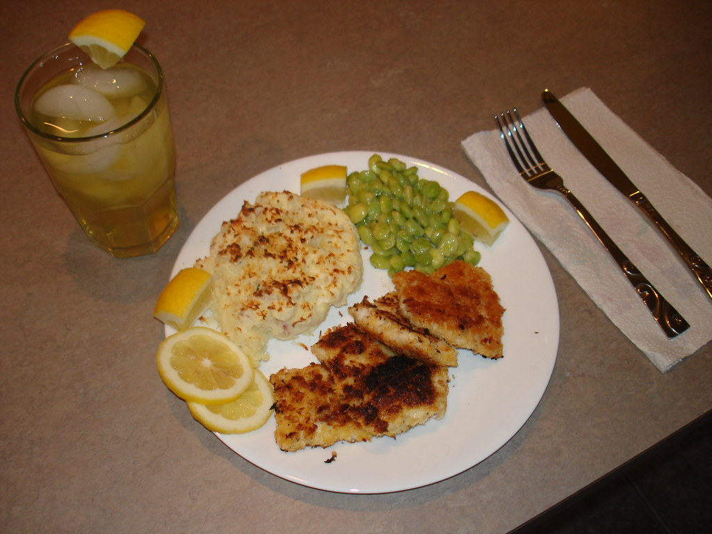 Fried Walleye Pike, Broiled Garlic Mashed Potatoes, Lima Beans and Green Tea