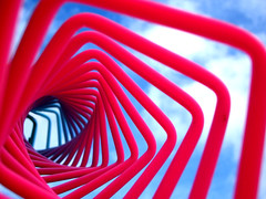 wave (optick) Tags: pink blue light sky cloud white abstract art colors up lines composition square spiral toy spring focus pattern colours time near geometry perspective gap wave science fluorescent future round recursion present physics beyond inside helix slinky coil past far fluorescence depth squared clever bold repeat nested dayglo upwards optics optic inbetween optick