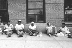 lunch break on pinehurst (Susan NYC) Tags: street nyc ny men lunch workers break manhattan washingtonheights pinehurst 181 181ststreet 181street hudsonheights