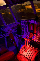 C130 Cockpit (purple) (Lost America) Tags: lightpainting night airplane cockpit fullmoon junkyard boneyard hercules airliner c130 aviationwarehouse