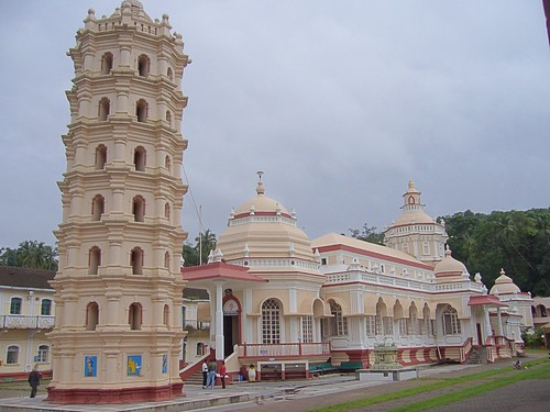 The leaning tower of the Mangeshi Temple, Goa, India