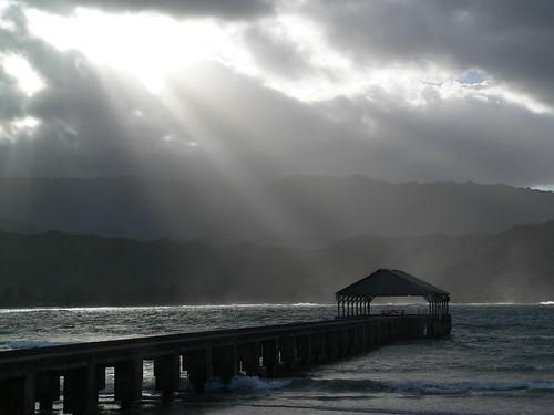 Hanalei Bay, Kauai, Hawaii with sun rays by B Mully.