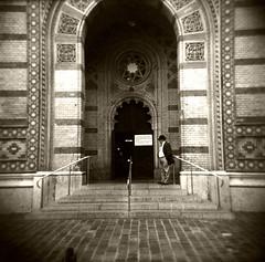 (Monsieur Marchi) Tags: street bw white man black 120 6x6 film sepia mediumformat temple photography interestingness worship hungary budapest toycamera synagogue elderly jew jews judaism holga120cfn kodaktrix400