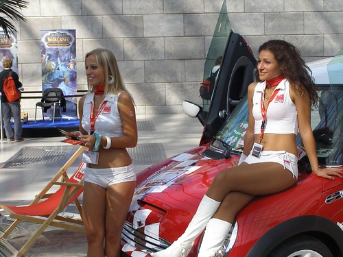 Brunette and Blonde Models with SportCar