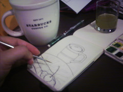Cannoli pre-paint (renmeleon) Tags: art moleskine watercolor italian paint reporter tosca starbucks ria cannoli renmeleon renfolio