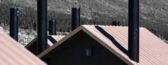 Toilet chimneys (Unhindered by Talent) Tags: park roof chimney metal manipulated river vent toilet roofs national area rest denali toilets chimneys vents toklat