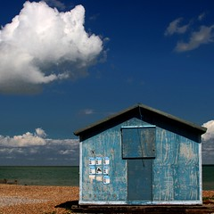 The Amazing Story of the Lonely Beach Hut and its Very Own Cotton Cloud (MariaJC) Tags: uk blue beach azul landscapes kent bravo colours beachhut whitstable babel 1in10f100v interestingness310 i500 abigfave aplusphoto diamondclassphotographer