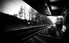 (Riik@mctr) Tags: styal line railway south manchester north east cheshire junction wilmslow spur airport heald green finney lane station platform egcc nokia n95 cell fone phone train stitched picture panaview panoramic blackandwhite monochrome