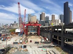 The scene of the lift (WSDOT) Tags: seattle construction gp repairs bertha tunneling tunnelboringmachine reassembly mammoet wsdot alaskanwayviaductreplacement sr99tunnel