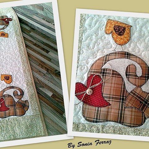 ....Caminho de mesa...Gatinho #patchwork #caminhodemesa #feitocomcarinho #gato #bysoniaferraz