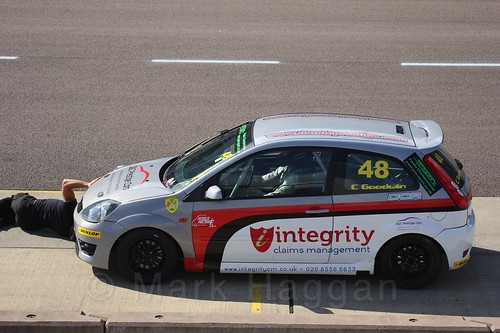 Callum Goodwin pits in Fiesta Racing at Rockingham, Sept 2015