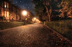 Autumn Evening. (sidibousaid60) Tags: uk autumn leaves night photoshop dark buxton streetlights derbyshire textures corelpainter broadwalk