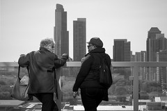 All the time in the world (Andy Marfia) Tags: roof blackandwhite bw chicago architecture buildings iso100 view loop terrace candid deck conversation railing f8 leaning vantage prudentialbuilding 1500sec d7100 1685mm openhousechicago ohc2015